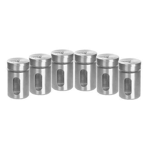 Foto 1 Kit Com 6 Porta Tempero Condimentos Potes De Vidro Inox