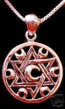 Rose Gold Plated Moon Goddess Celtic Star Charm Silver Sterling Silver 925 Jewelry