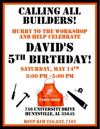 Home Depot Party Invitations #2