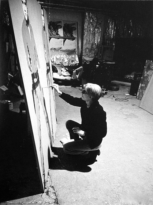 Andy Warhol working on Elvis I and II, 1963: