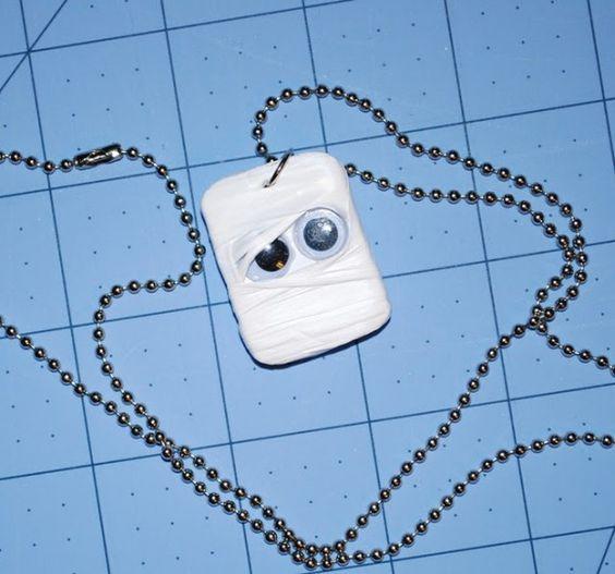 Make a Mummy Necklace @ dollar store crafts