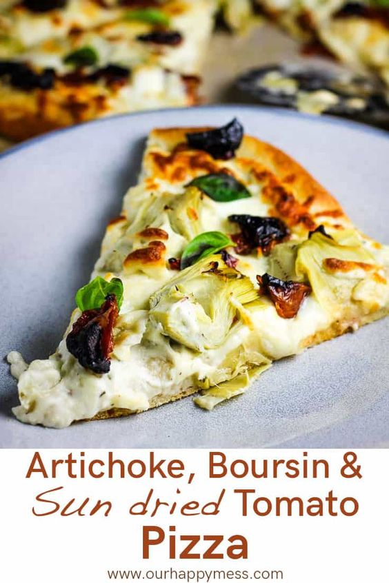 Artichoke Pizza with Sun Dried Tomatoes and Boursin