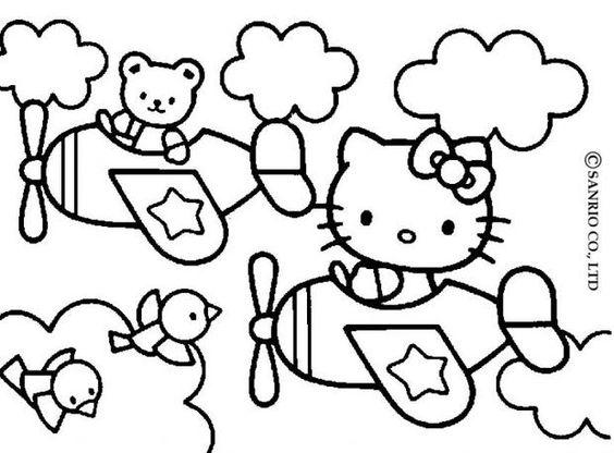 Coloriage : Hello Kitty en avion