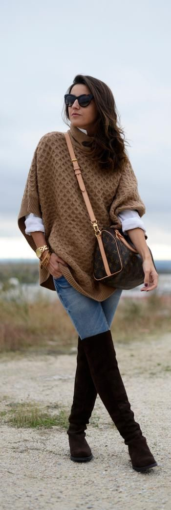 Have this almost identical sweater/poncho from Banana Republic! Perfect for cool Fall days!: