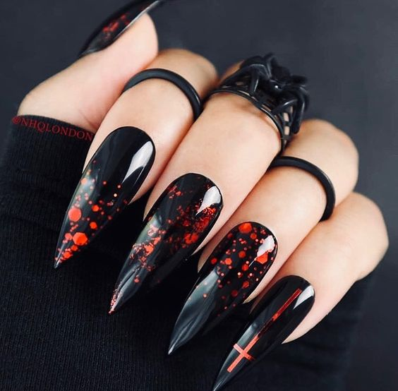 red splash dot black glossy nails