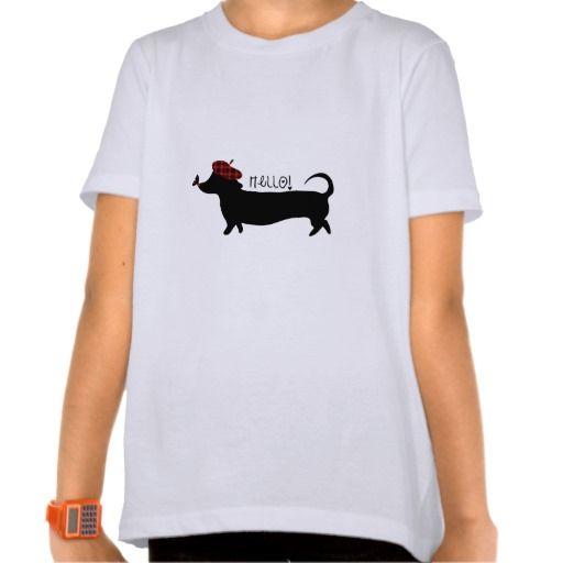 Tshirt da menina do cão de salsicha