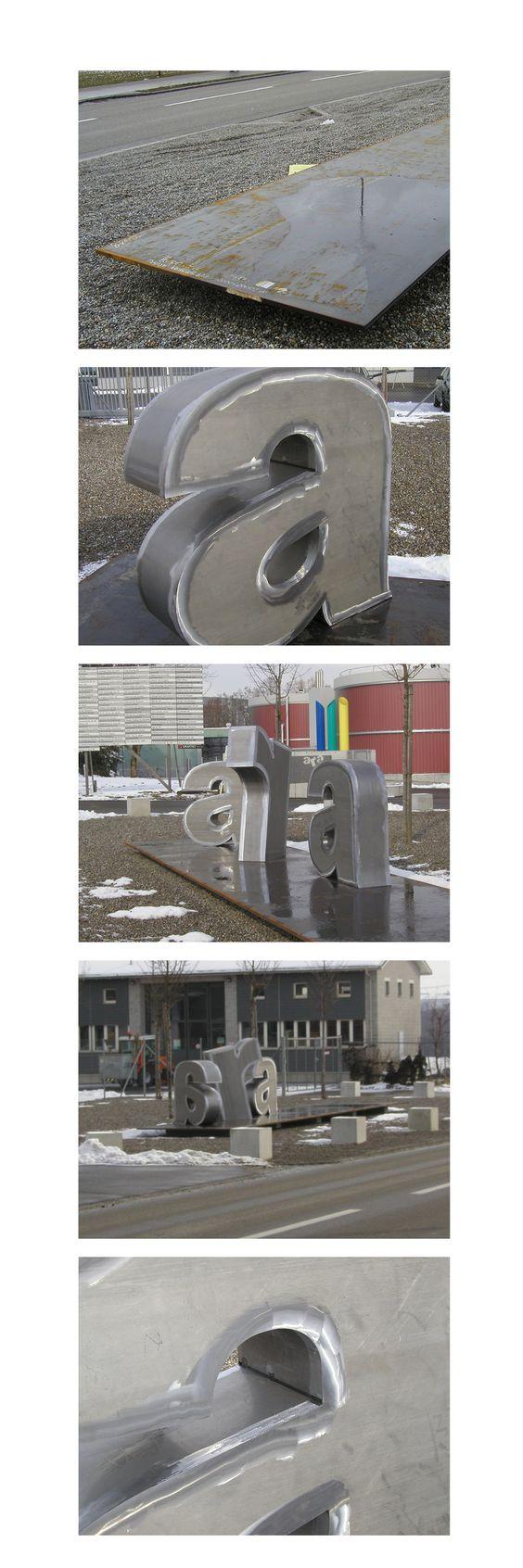 ARA Kläranlage Kunst am Bau Plastik und Signaletik von designsalzmann