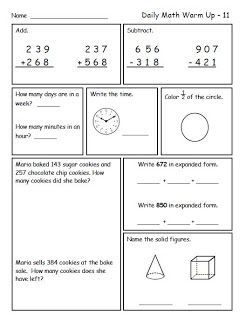 common core math spiral reviews for second grade addition and subtraction with regrouping. Black Bedroom Furniture Sets. Home Design Ideas