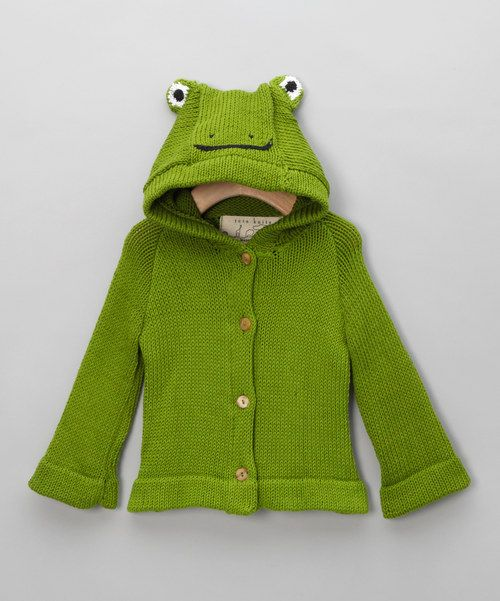 A ribbetingly cute jumper! We're in love with this funky animal jumper, utterly adorable and lots of fun for your little one! In gorgeous green with a decorative hood, this will make for one little froggy you'll simply have to cuddle.Button fastening100% organic cottonHand washE...