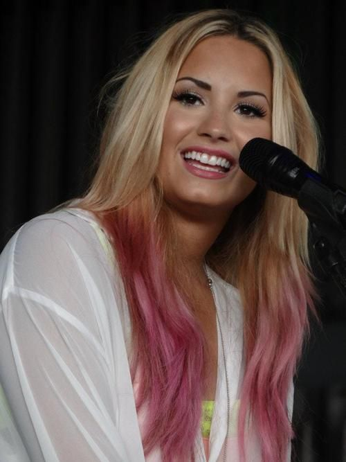Demi Lovato- blonde with pink ombre ends... absolutely beautiful.