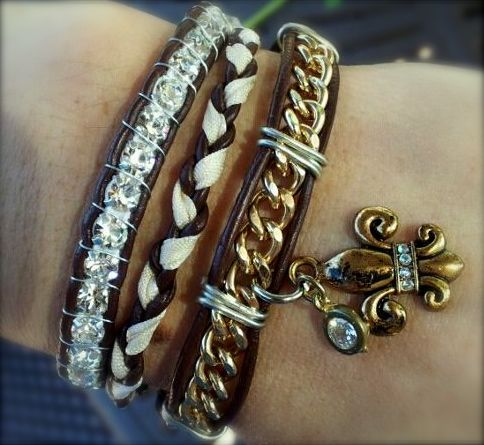 Leather wrap bracelet... made by Dizzy Bees on facebook