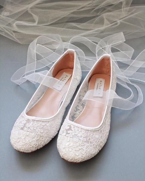 White Crochet Lace Ballerina Lace Up Flats In 2020 Womens Wedding Shoes Bridesmaid Shoes Flat Wedding Shoes Brides
