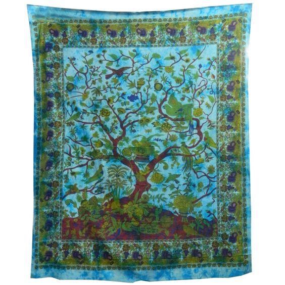 Tagesdecke Lebensbaum türkis blau 240x205cm Vögel Blumen Design indische Decke Baumwolle: Amazon.de: Küche & Haushalt
