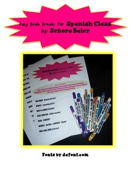FREE Brain Breaks for Spanish Class (Sign and All Activity: Class Brain, Bilingual Classroom, Spanish Brain Breaks, Spanish Classroom, Brain Breaks Descansos, Classroom Activities, Breaks Spanish, Break Activities