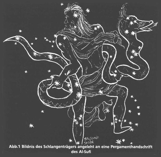 The 13th sign of the Zodiac--Ophiucus. He's located by Scorpio, in the area known as the DARK RIFT.