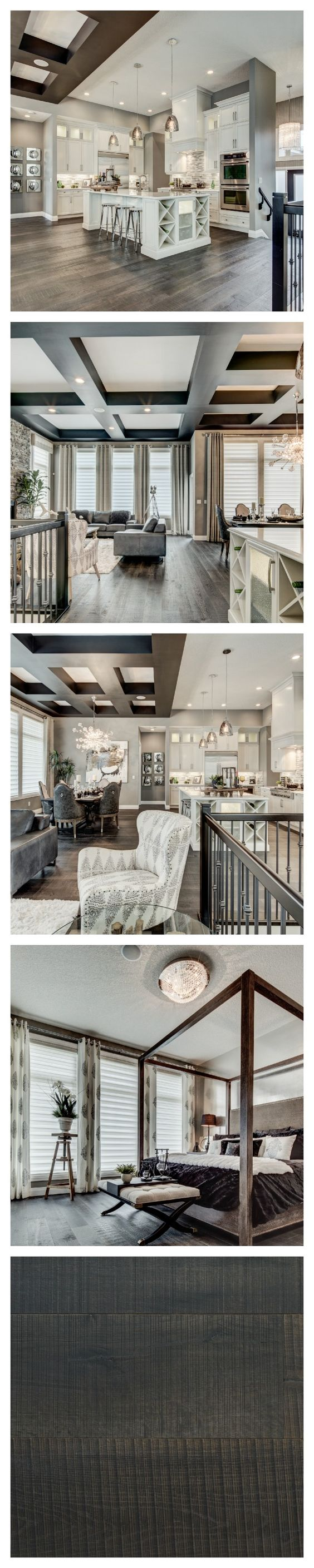 There is a decidedly glamorous edge to this breathtaking model home by Alquinn Homes in Edmonton. The sophisticated palette of greys and creams adds to the luxe appeal. #Farmhouse flooring in the colour Le Bourg.➳ Pinterest: miabutler ♕