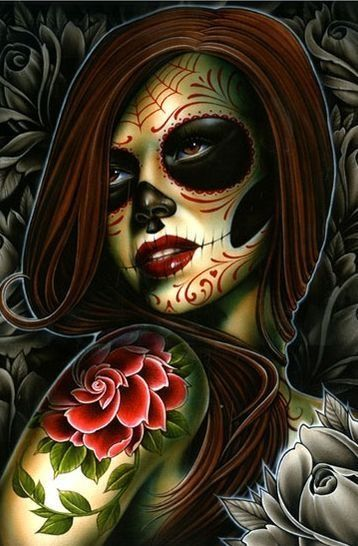 damien friesz day of the dead girl print dia de los muertos pinterest picture tattoos. Black Bedroom Furniture Sets. Home Design Ideas