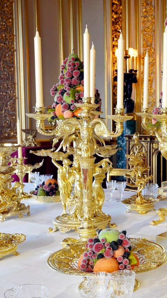 Fruit with gold candleabra: