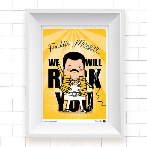 Freddie Mercury Poster, Kutukafa Music Collection (wall art, music, England, Queen, digital print) by OipsStore on Etsy