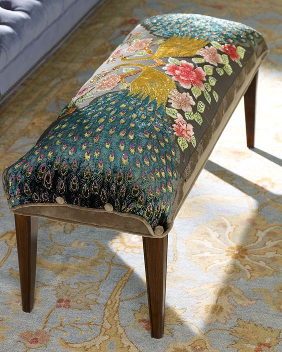 "Haute House Peacock Bench -  Bench features a hand-beaded peacock design. Alder wood frame. Burn-out rayon velvet upholstery. 42""L x 15""W x 18""T.  $1,499.00:"