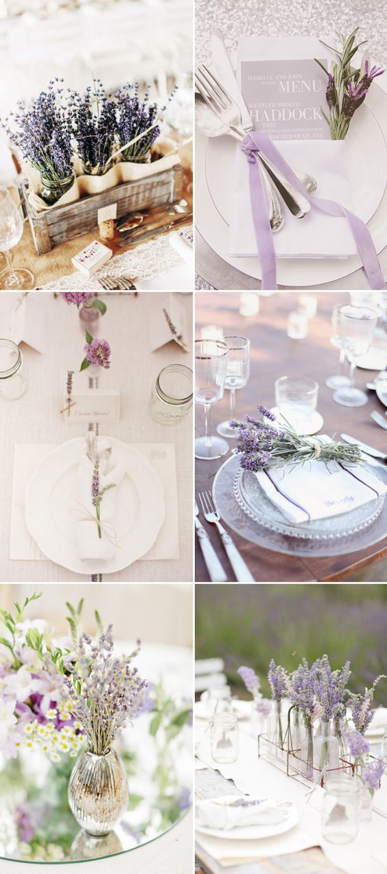 45 Romantic Ways to decorate your wedding with lavender - Table Decor!