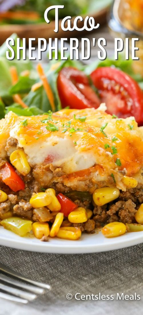 Taco Shepherd S Pie Is A Delicious Mixture Of Taco Meat Corn And Peas Are Topped With Buttery Mashed Potatoes And Cheese Shepherds Pie Meat Recipes Recipes