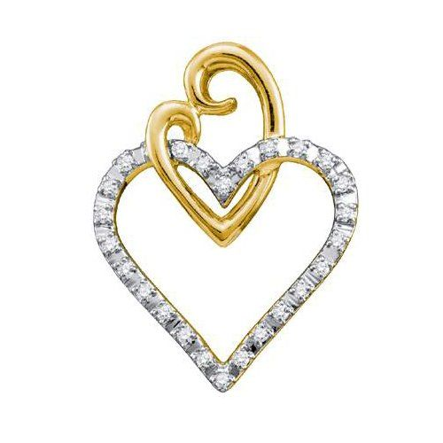 10K Yellow Gold 0.08CT Diamond (Clarity I1-I2 Color H-I) Pendant ...