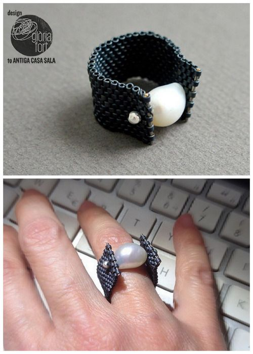 DIY Peyote Pearl Ring by Gloria Fort.How to make a peyote stitch...