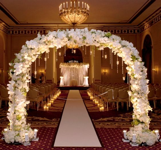 Arches indoor and wedding ceremonies on pinterest for Indoor light decoration ideas