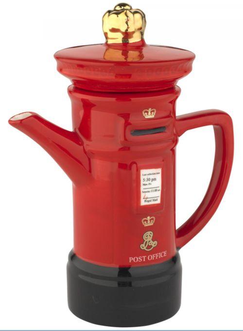 Royal Mail Red Pillar Post Box TEAPOT- Whittard of Chelsea