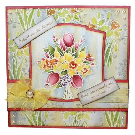 This is the gorgeous new Spring Frame & Bouquet set designed by Sharon Bennett for Hobby Art. This was made using the Spring Bouquet stamp. The Card was made by our new design team member Sally Dodger:
