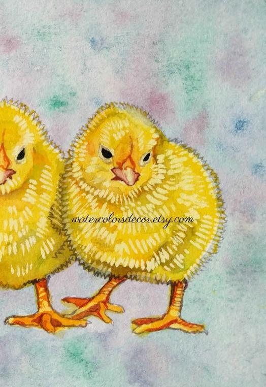 Baby Chicks Watercolor Painting 5 X 7 This Listing Is For An