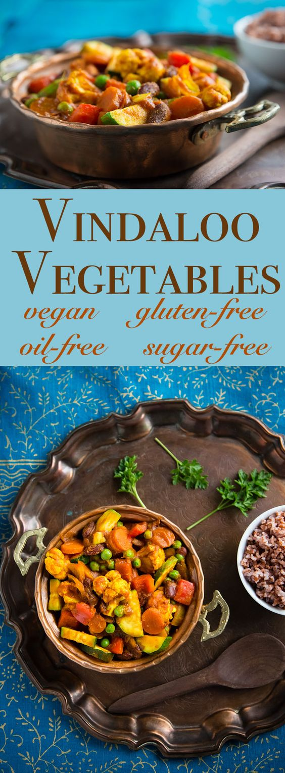 Vindaloo Vegetables is a vegan curry that combines fresh vegetables and beans for a low-fat, completely plant-based one pot meal. Gluten-free, sugar-free, and oil-free.