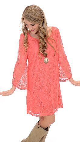 ShopBlueDoor.com: Vibrant, coral lace with bell sleeves and a crochet trim...it doesn't get any cuter than that!  $46