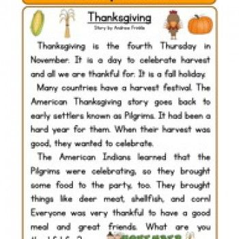 Worksheets 2nd Grade Stories second grade reading comprehension worksheet holiday stories thanksgiving