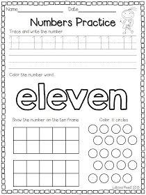 Worksheets For The Number 11 Preschool - Studimages.com