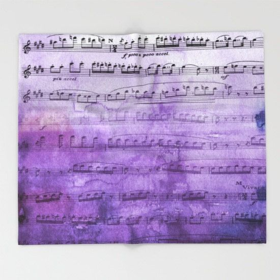 Music Throw Blanket   Purple ombre music by ArtfullyFeathered