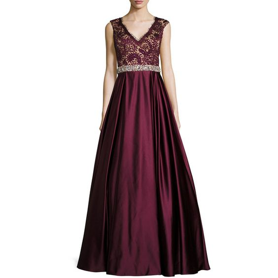 Jovani Sleeveless Embellished Lace & Satin Ball Gown (12.680 ARS) ❤ liked on Polyvore featuring dresses, gowns, burgundy, purple evening dresses, jovani gown, burgundy dress, lace ball gown and purple lace dress