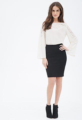 Textured Pencil Skirt | Forever 21 - 2000118845
