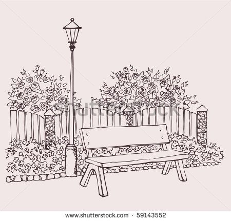 park bench sketch google search park sketches