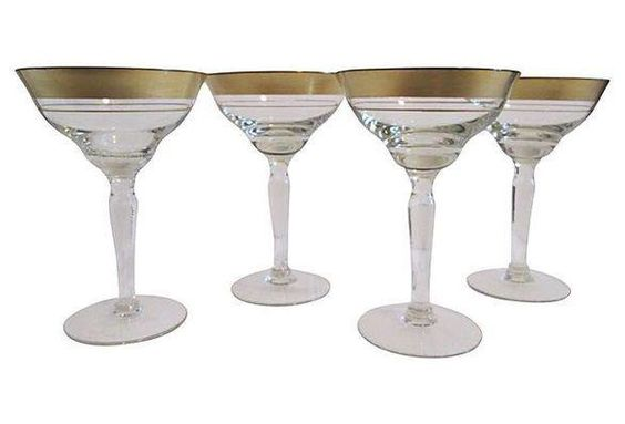 Gold Banded Cocktail Glasses - Set of 4 on Chairish.com