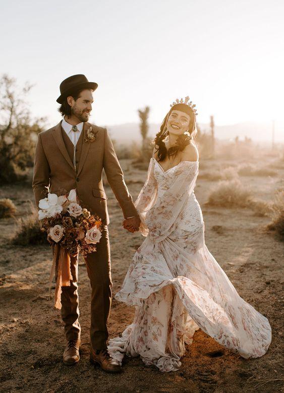 Wild Ones Wedding Inspiration. Rue de Seine boho wedding dress. Dried palm florals at The Ruin Venue in the desert.