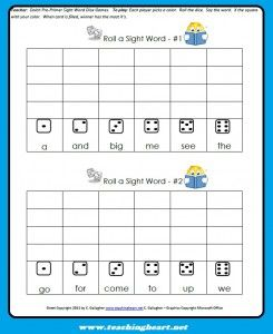 Sight Word Dice Game - Pinned by @PediaStaff – Please Visit http ...