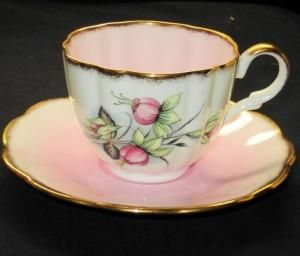 Taylor Kent Longton Pink Fuchsia Flower Blended Pale Pink Tea Cup and Saucer | eBay by natalie-w