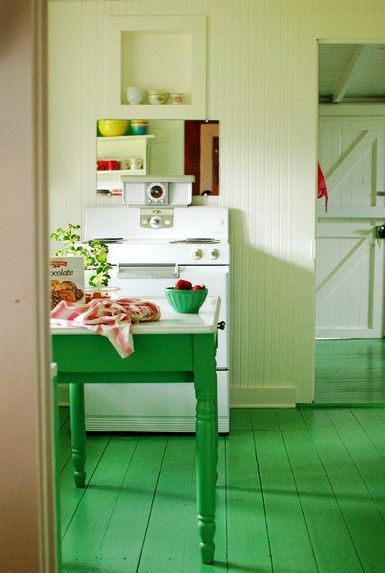 Gorgeous green kitchen table and floor