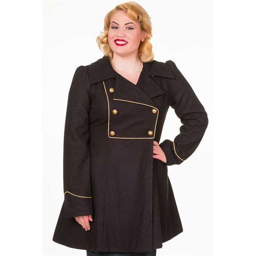 Into The Night militaire stijl lange winterjas met knopen zwart