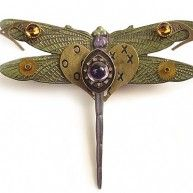 Artists Jim Mullan and Tori Rhoades are renowned for incorporating a variety of unique found objects alongside newly fabricated segments to create designs that are truly timeless. Their dragonfly pin ...