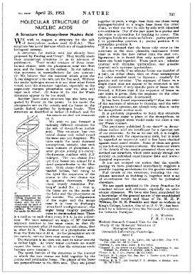 """essay on watson and crick Aware of these profound implications, watson and crick were obsessed with  """" the double helix and the wronged heroine,"""" an essay on nature's """"double."""