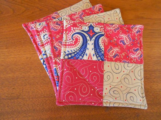 Quilted Coasters Red, Blue and Beige fabrics/Set of Four by RubysQuiltShop on Etsy