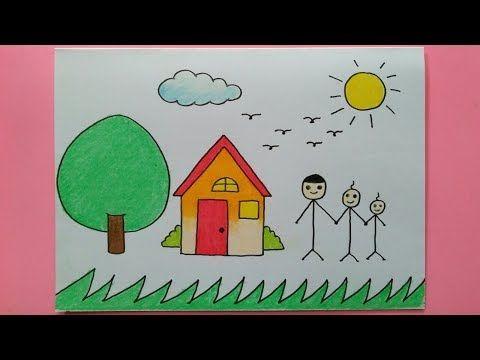 Cara Menggambar Rumah Dan Keluarga Untuk Anak Paud Dan Tk Youtube Gambar Simpel Cara Menggambar Cara Melukis